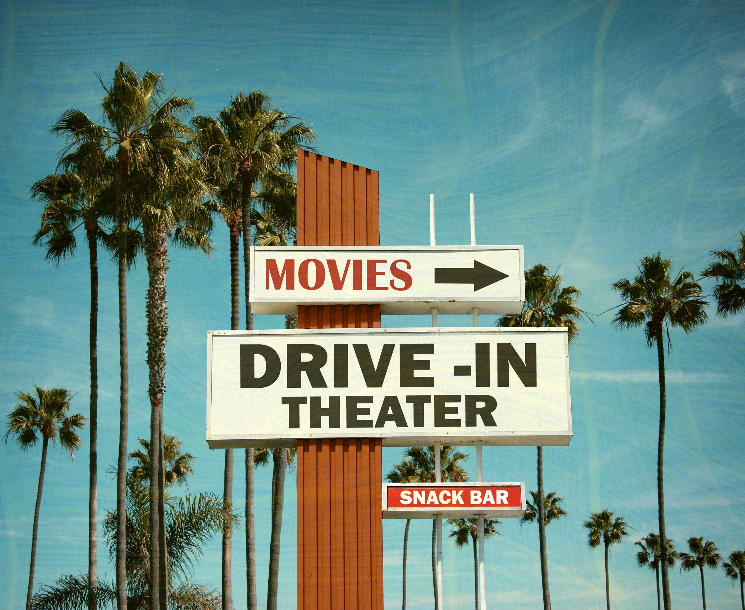 Drive in Cinema Sign, cinema hire, screen hire, pop up cinema hire, outdoor cinema hire, indoor cinema hire, projector hire